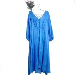 Free People Blue Long Sleeve Later Days Midi Dress